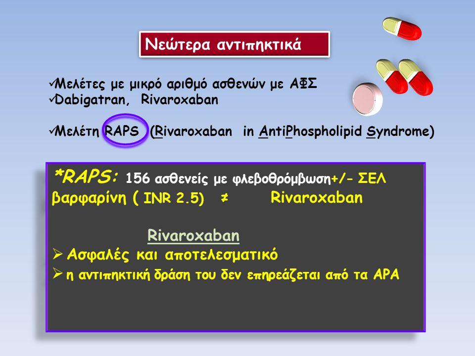 Νεώτερα αντιπηκτικά Μελέτες με μικρό αριθμό ασθενών με ΑΦΣ Dabigatran, Rivaroxaban Μελέτη RAPS (Rivaroxaban in AntiPhospholipid Syndrome) *RAPS: 156 ασθενείς με φλεβοθρόμβωση+/- ΣΕΛ βαρφαρίνη ( INR 2.5) ≠ Rivaroxaban Rivaroxaban  Ασφαλές και αποτελεσματικό  η αντιπηκτική δράση του δεν επηρεάζεται από τα ΑPA *RAPS: 156 ασθενείς με φλεβοθρόμβωση+/- ΣΕΛ βαρφαρίνη ( INR 2.5) ≠ Rivaroxaban Rivaroxaban  Ασφαλές και αποτελεσματικό  η αντιπηκτική δράση του δεν επηρεάζεται από τα ΑPA