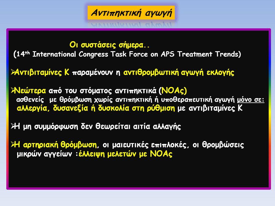 Οι συστάσεις σήμερα.. ( 14 th International Congress Task Force on APS Treatment Trends)  Αντιβιταμίνες Κ παραμένουν η αντιθρομβωτική αγωγή εκλογής 