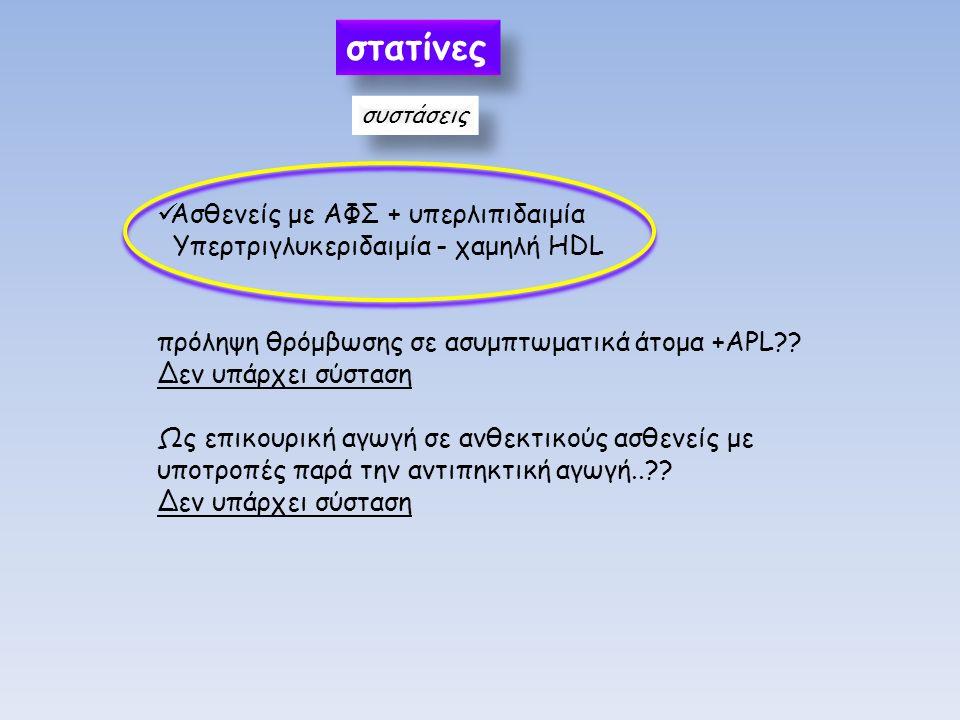 στατίνες συστάσεις Ασθενείς με ΑΦΣ + υπερλιπιδαιμία Υπερτριγλυκεριδαιμία - χαμηλή HDL πρόληψη θρόμβωσης σε ασυμπτωματικά άτομα +APL?? Δεν υπάρχει σύστ