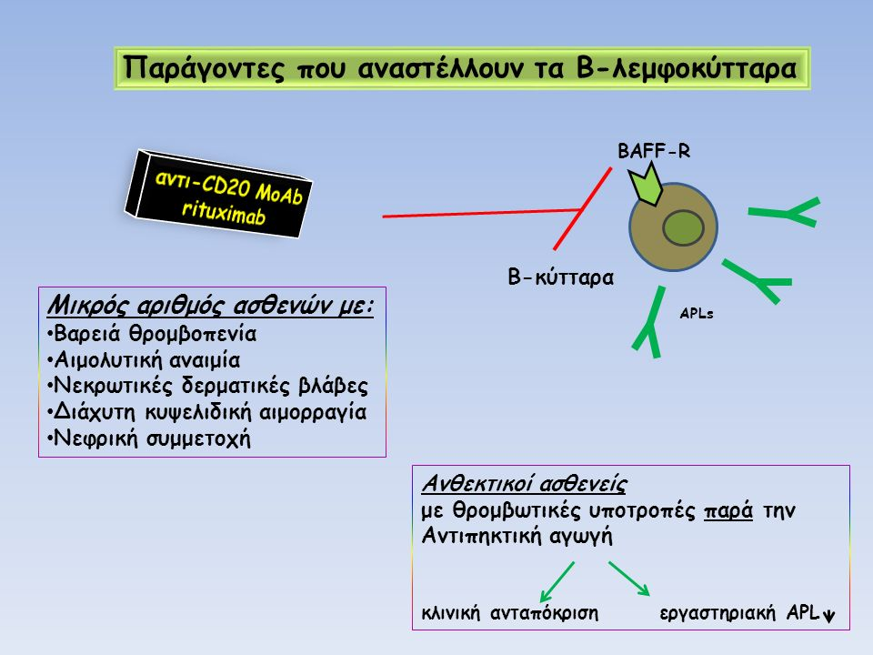 BAFF-R B-κύτταρα Παράγοντες που αναστέλλουν τα Β-λεμφοκύτταρα Μικρός αριθμός ασθενών με: Βαρειά θρομβοπενία Αιμολυτική αναιμία Νεκρωτικές δερματικές β