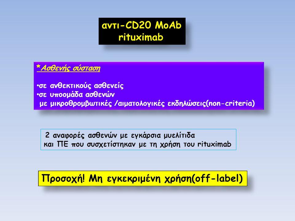 αντι-CD20 MoAb rituximab αντι-CD20 MoAb rituximab *Ασθενής σύσταση σε ανθεκτικούς ασθενείς σε υποομάδα ασθενών με μικροθρoμβωτικές /αιματολογικές εκδηλώσεις(non-criteria) *Ασθενής σύσταση σε ανθεκτικούς ασθενείς σε υποομάδα ασθενών με μικροθρoμβωτικές /αιματολογικές εκδηλώσεις(non-criteria) 2 αναφορές ασθενών με εγκάρσια μυελίτιδα και ΠΕ που συσχετίστηκαν με τη χρήση του rituximab Προσοχή.