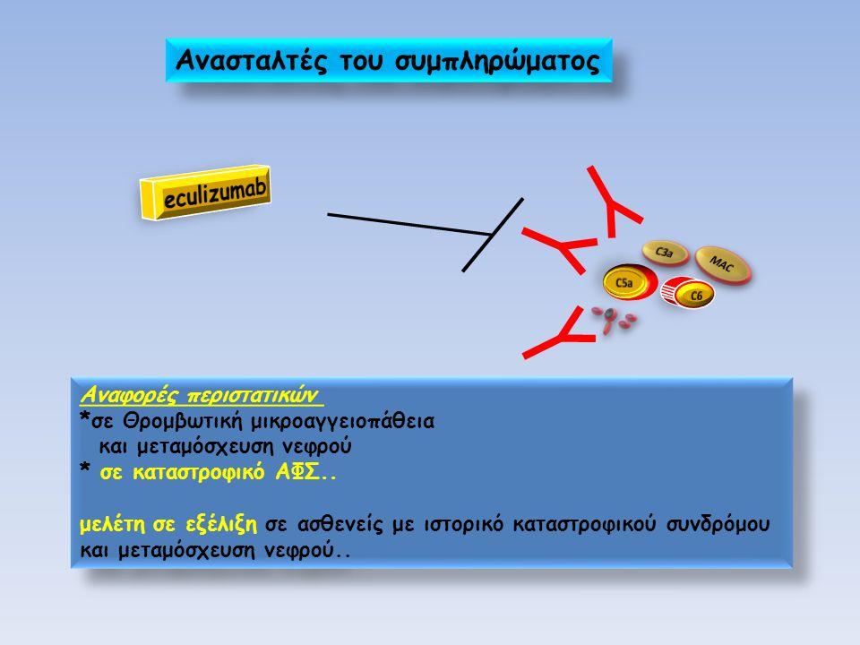 Αναφορές περιστατικών *σε Θρομβωτική μικροαγγειοπάθεια και μεταμόσχευση νεφρού * σε καταστροφικό ΑΦΣ.. μελέτη σε εξέλιξη σε ασθενείς με ιστορικό κατασ