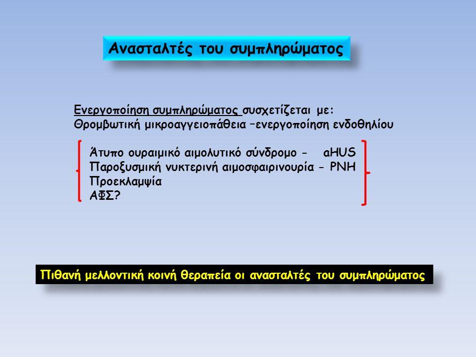 Ενεργοποίηση συμπληρώματος συσχετίζεται με: Θρομβωτική μικροαγγειοπάθεια –ενεργοποίηση ενδοθηλίου Άτυπο ουραιμικό αιμολυτικό σύνδρομο - aHUS Παροξυσμική νυκτερινή αιμοσφαιρινουρία - PNH Προεκλαμψία ΑΦΣ.