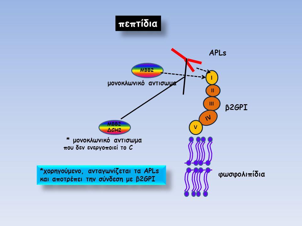 πεπτίδια I II III IV V β2GPI APLs ΜΒΒ2 μονοκλωνικό αντισωμα φωσφολιπίδια ΜΒΒ2 ΔCH2 * μονοκλωνικό αντισωμα που δεν ενεργοποιεί το C *χορηγούμενο, ανταγωνίζεται τα APLs και αποτρέπει την σύνδεση με β2GPI *χορηγούμενο, ανταγωνίζεται τα APLs και αποτρέπει την σύνδεση με β2GPI