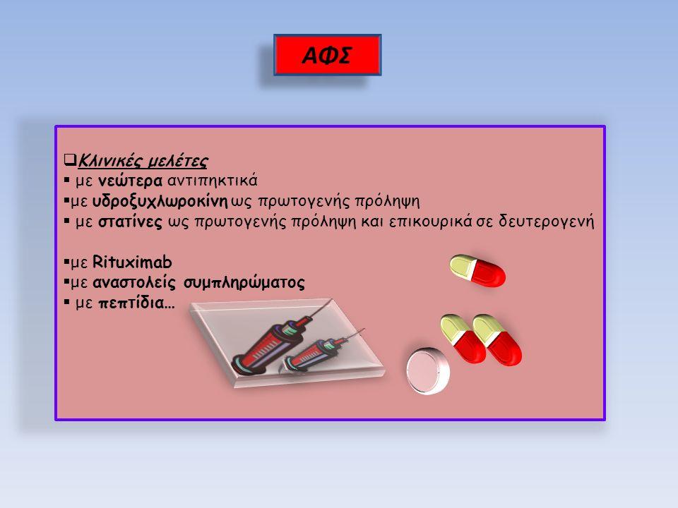  Κλινικές μελέτες  με νεώτερα αντιπηκτικά  με υδροξυχλωροκίνη ως πρωτογενής πρόληψη  με στατίνες ως πρωτογενής πρόληψη και επικουρικά σε δευτερογενή  με Rituximab  με αναστολείς συμπληρώματος  με πεπτίδια… ΑΦΣ