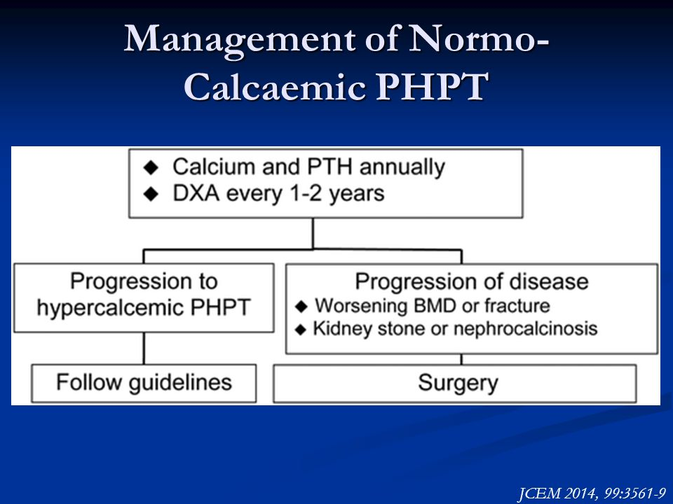 Management of Normo- Calcaemic PHPT JCEM 2014, 99:3561-9