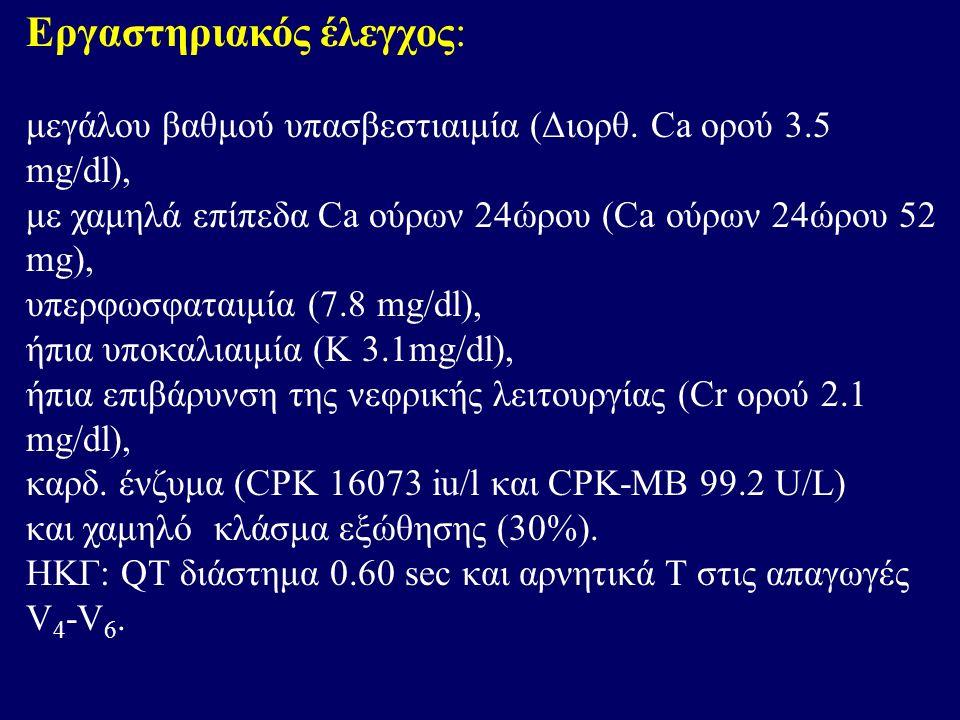 Εργαστηριακός έλεγχος: μεγάλου βαθμού υπασβεστιαιμία (Διορθ. Ca ορού 3.5 mg/dl), με χαμηλά επίπεδα Ca ούρων 24ώρου (Ca ούρων 24ώρου 52 mg), υπερφωσφατ
