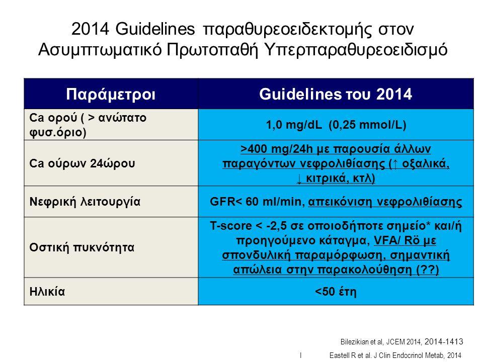 ΠαράμετροιGuidelines του 2014 Ca ορού ( > ανώτατο φυσ.óριο) 1,0 mg/dL (0,25 mmol/L) Ca ούρων 24ώρου >400 mg/24h με παρουσία άλλων παραγόντων νεφρολιθίασης (↑ οξαλικά, ↓ κιτρικά, κτλ) Νεφρική λειτουργίαGFR< 60 ml/min, απεικόνιση νεφρολιθίασης Οστική πυκνότητα Τ-score < -2,5 σε οποιοδήποτε σημείο* και/ή προηγούμενο κάταγμα, VFA/ Rö με σπονδυλική παραμόρφωση, σημαντική απώλεια στην παρακολούθηση ( ) Ηλικία<50 έτη I Eastell R et al.