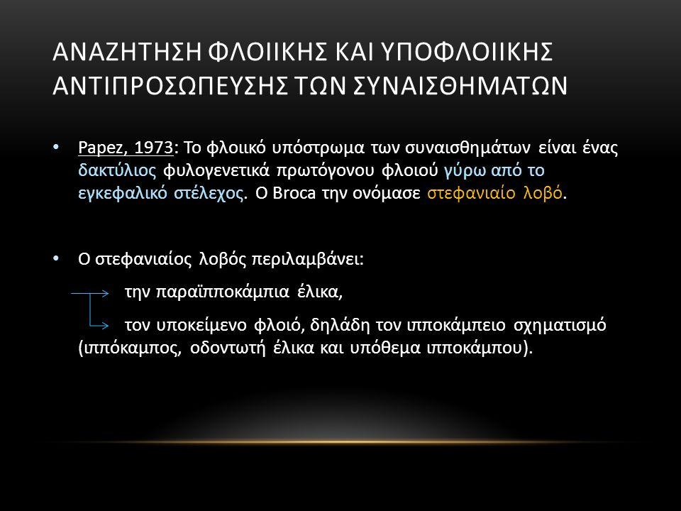 ΑΝΑΖΗΤΗΣΗ ΦΛΟΙΙΚΗΣ ΚΑΙ ΥΠΟΦΛΟΙΙΚΗΣ ΑΝΤΙΠΡΟΣΩΠΕΥΣΗΣ ΤΩΝ ΣΥΝΑΙΣΘΗΜΑΤΩΝ Papez, 1973: Το φλοιικό υπόστρωμα των συναισθημάτων είναι ένας δακτύλιος φυλογενετικά πρωτόγονου φλοιού γύρω από το εγκεφαλικό στέλεχος.
