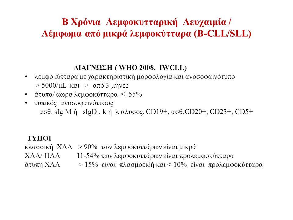B Χρόνια Λεμφοκυτταρική Λευχαιμία / Λέμφωμα από μικρά λεμφοκύτταρα (Β-CLL/SLL) ΔΙΑΓΝΩΣΗ ( WHO 2008, IWCLL) λεμφοκύτταρα με χαρακτηριστική μορφολογία και ανοσοφαινότυπο ≥ 5000/μL και ≥ από 3 μήνες άτυπα/ άωρα λεμφοκύτταρα ≤ 55% τυπικός ανοσοφαινότυπος ασθ.