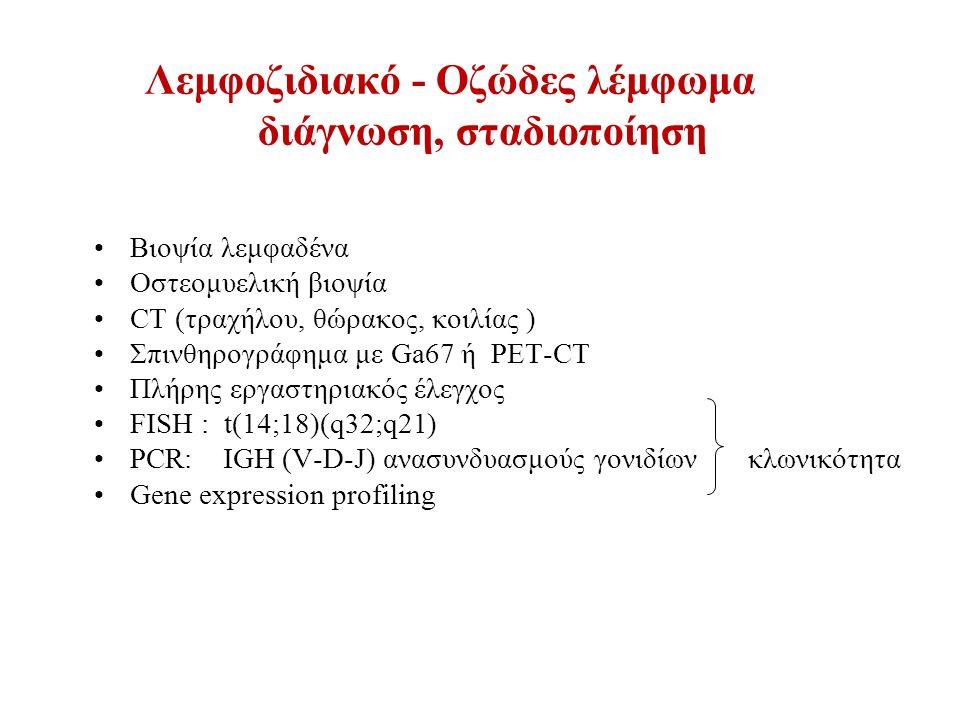 Λεμφοζιδιακό - Οζώδες λέμφωμα διάγνωση, σταδιοποίηση Βιοψία λεμφαδένα Oστεομυελική βιοψία CT (τραχήλου, θώρακος, κοιλίας ) Σπινθηρογράφημα με Ga67 ή PET-CT Πλήρης εργαστηριακός έλεγχος FISH : t(14;18)(q32;q21) PCR: ΙGH (V-D-J) ανασυνδυασμούς γονιδίων κλωνικότητα Gene expression profiling