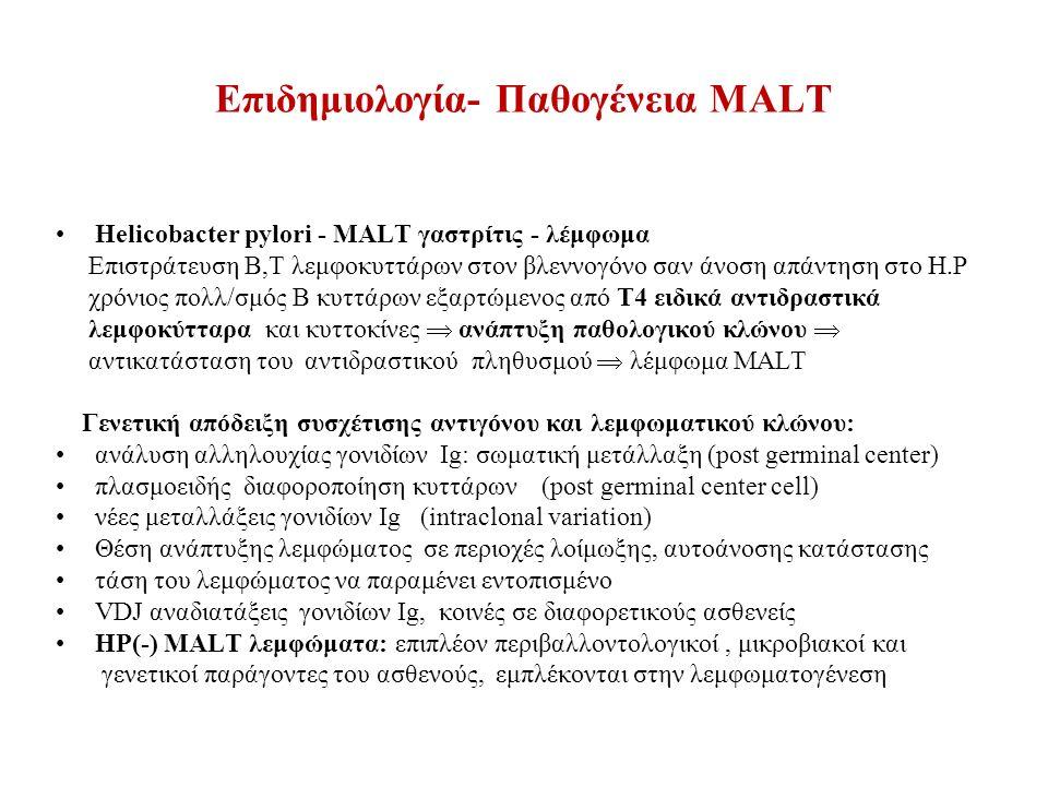 Επιδημιολογία- Παθογένεια MALT Helicobacter pylori - MALT γαστρίτις - λέμφωμα Επιστράτευση Β,Τ λεμφοκυττάρων στον βλεννογόνο σαν άνοση απάντηση στο H.P χρόνιος πολλ/σμός Β κυττάρων εξαρτώμενος από Τ4 ειδικά αντιδραστικά λεμφοκύτταρα και κυττοκίνες  ανάπτυξη παθολογικού κλώνου  αντικατάσταση του αντιδραστικού πληθυσμού  λέμφωμα MALT Γενετική απόδειξη συσχέτισης αντιγόνου και λεμφωματικού κλώνου: ανάλυση αλληλουχίας γονιδίων Ig: σωματική μετάλλαξη (post germinal center) πλασμοειδής διαφοροποίηση κυττάρων (post germinal center cell) νέες μεταλλάξεις γονιδίων Ιg (intraclonal variation) Θέση ανάπτυξης λεμφώματος σε περιοχές λοίμωξης, αυτοάνοσης κατάστασης τάση του λεμφώματος να παραμένει εντοπισμένο VDJ αναδιατάξεις γονιδίων Ig, κοινές σε διαφορετικούς ασθενείς HP(-) MALT λεμφώματα: επιπλέον περιβαλλοντολογικοί, μικροβιακοί και γενετικοί παράγοντες του ασθενούς, εμπλέκονται στην λεμφωματογένεση