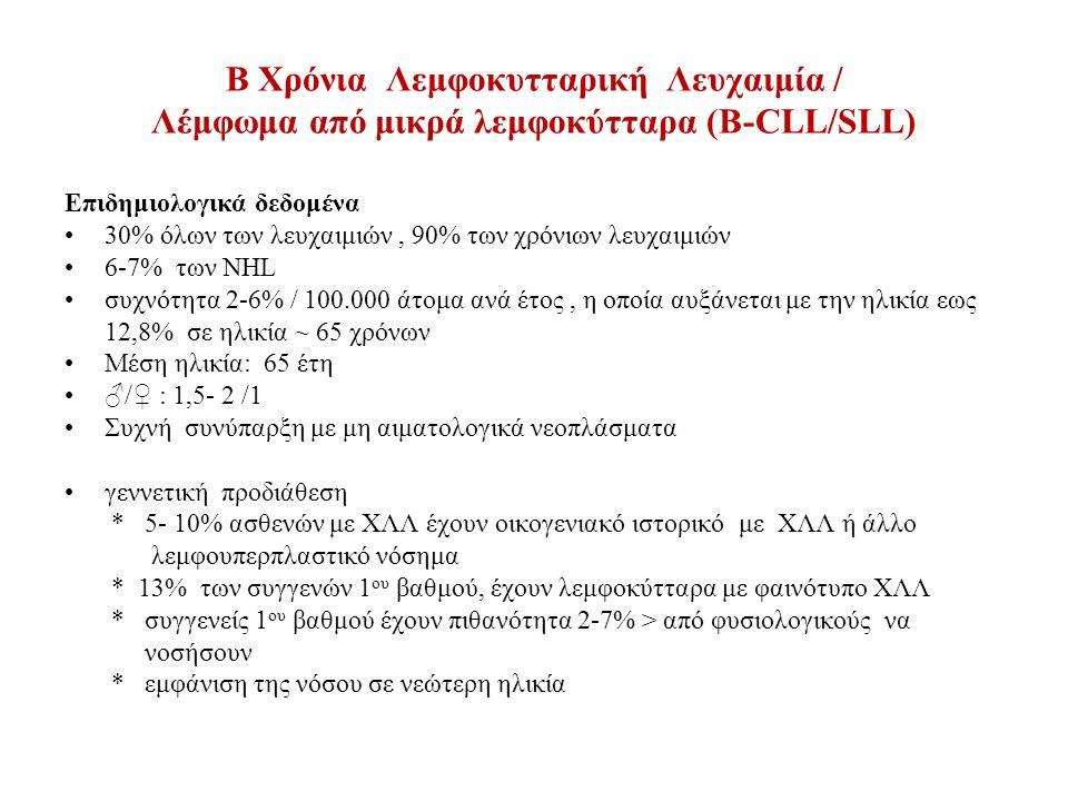 B Χρόνια Λεμφοκυτταρική Λευχαιμία / Λέμφωμα από μικρά λεμφοκύτταρα (Β-CLL/SLL) Ανοσοφαινοτυπικά χαρακτηριστικά Παν-Β-κυτταρικά αντιγόνα (CD19+, CD20+),CD5+, CD23+, CD43+, CD79a+, FMC7-, CD38 (40%), ZAP 70 +/- Aνοσοσφαιρίνη επιφάνειας ασθενώς θετική ( sIgM ή sIgM+sIgD) H κλωνικότητα μπορεί να επιβεβαιωθεί με την παρουσία περιορισμού κ ή λ αλυσίδας στην επιφάνεια των λεμφοκυττάρων scorring system (Matutes et all.) δείκτης ένταση score ένταση score sIg ασθενές 1 έντονο 0 CD5 + 1 - 0 CD23 + 1 - 0 CD22/ CD79b ασθενές 1 έντονο 0 FMC7 - 1 + 0 η διάγνωση ΧΛΛ απαιτεί score 4-5
