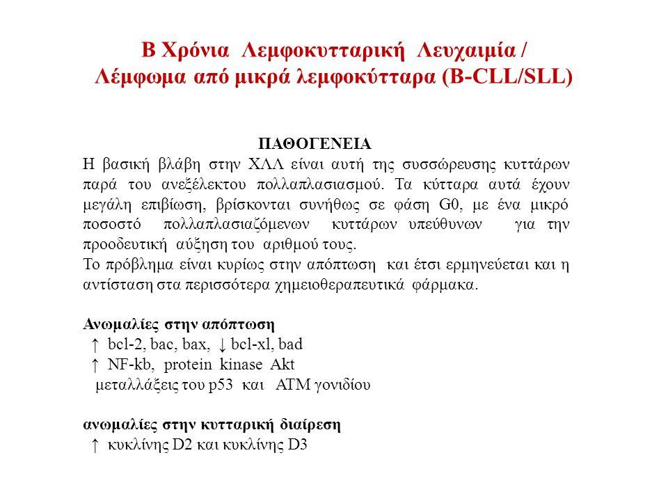 B Χρόνια Λεμφοκυτταρική Λευχαιμία / Λέμφωμα από μικρά λεμφοκύτταρα (Β-CLL/SLL) ΚΥΤΤΑΡΟΓΕΝΝΕΤΙΚΗ ΚΑΙ ΟΓΚΟΓΟΝΙΔΙΑ το ΧΛΛ κύτταρο έχει πολύ χαμηλό πολλαπλασιαστικό δείκτη και ως εκ τούτου με κλασσική κυτταρογεννετική ανάλυση χρωμοσωμικές ανωμαλίες ανευρίσκονται στο 50% των περιπτώσεων ενώ με FISH (κύτταρα σε μεσόφαση) και άλλες τεχνικές στο 80%.