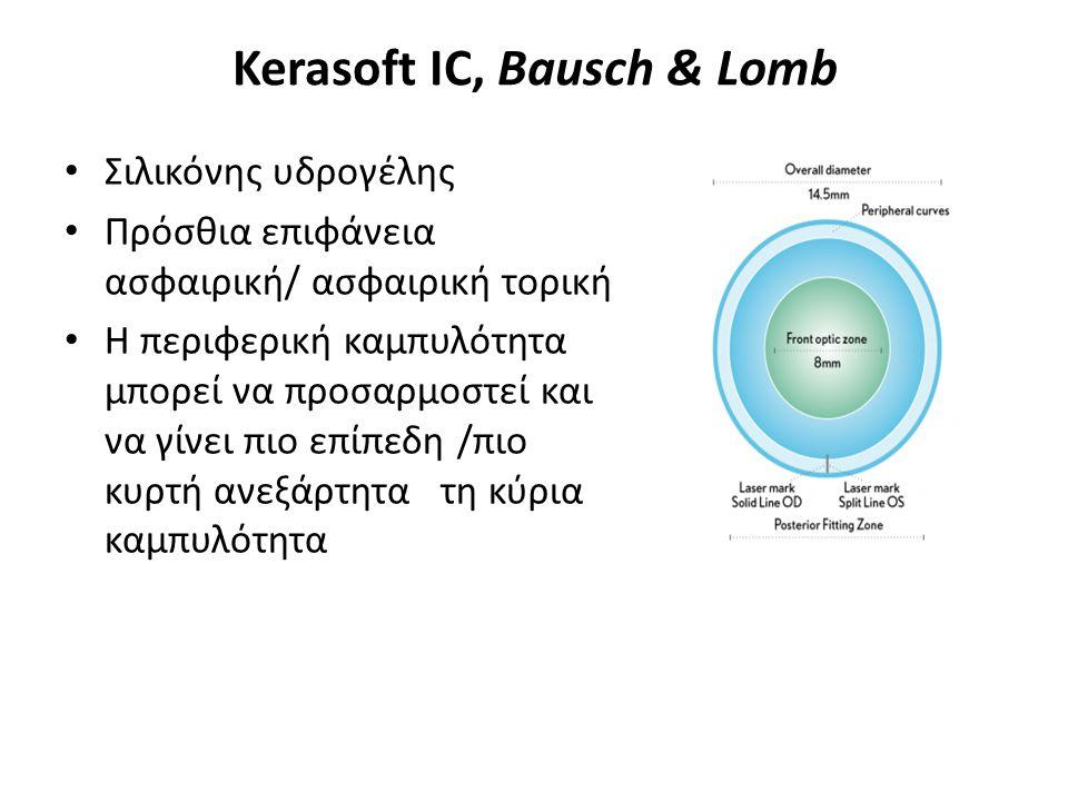 Kerasoft IC, Bausch & Lomb Σιλικόνης υδρογέλης Πρόσθια επιφάνεια ασφαιρική/ ασφαιρική τορική Η περιφερική καμπυλότητα μπορεί να προσαρμοστεί και να γίνει πιο επίπεδη /πιο κυρτή ανεξάρτητα τη κύρια καμπυλότητα