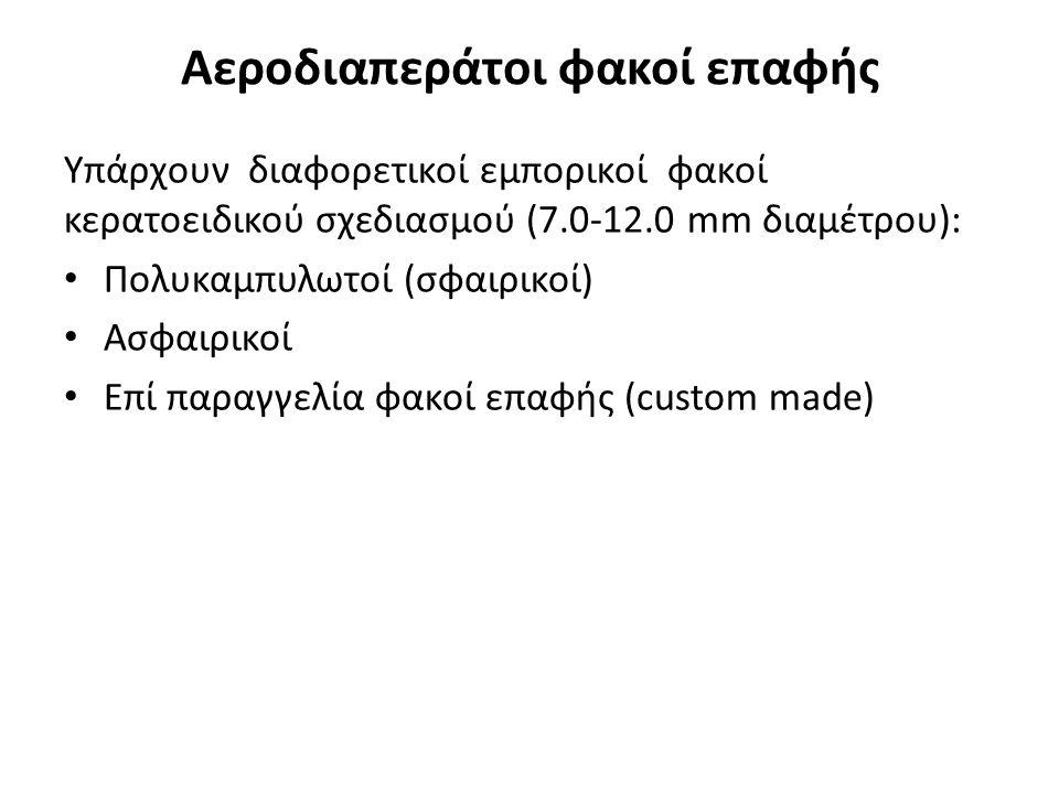 Αεροδιαπεράτοι φακοί επαφής Υπάρχουν διαφορετικοί εμπορικοί φακοί κερατοειδικού σχεδιασμού (7.0-12.0 mm διαμέτρου): Πολυκαμπυλωτοί (σφαιρικοί) Ασφαιρικοί Επί παραγγελία φακοί επαφής (custom made)