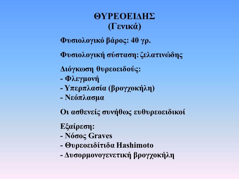 ΘΥΡΕΟΕΙΔΗΣ (Γενικά) Φυσιολογικό βάρος: 40 γρ. Φυσιολογική σύσταση:ζελατινώδης Διόγκωση θυρεοειδούς: - Φλεγμονή - Υπερπλασία (βρογχοκήλη) - Νεόπλασμα Ο
