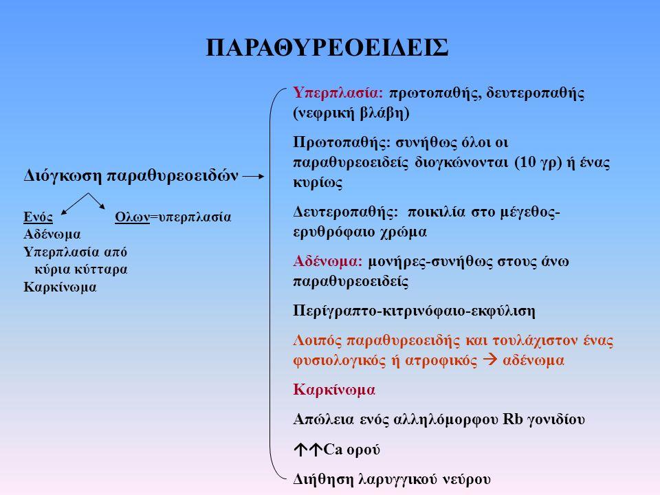 ΠΑΡΑΘΥΡΕΟΕΙΔΕΙΣ Διόγκωση παραθυρεοειδών Ενός Ολων=υπερπλασία Αδένωμα Υπερπλασία από κύρια κύτταρα Καρκίνωμα Υπερπλασία: πρωτοπαθής, δευτεροπαθής (νεφρ