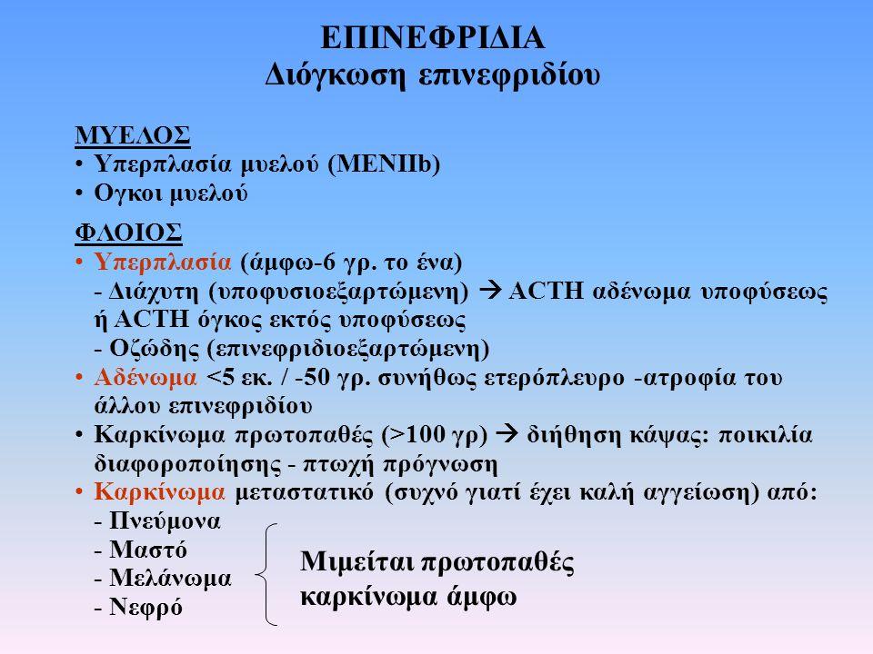 ΕΠΙΝΕΦΡΙΔΙΑ Διόγκωση επινεφριδίου ΜΥΕΛΟΣ Υπερπλασία μυελού (MENIIb) Ογκοι μυελού ΦΛΟΙΟΣ Υπερπλασία (άμφω-6 γρ. το ένα) - Διάχυτη (υποφυσιοεξαρτώμενη)