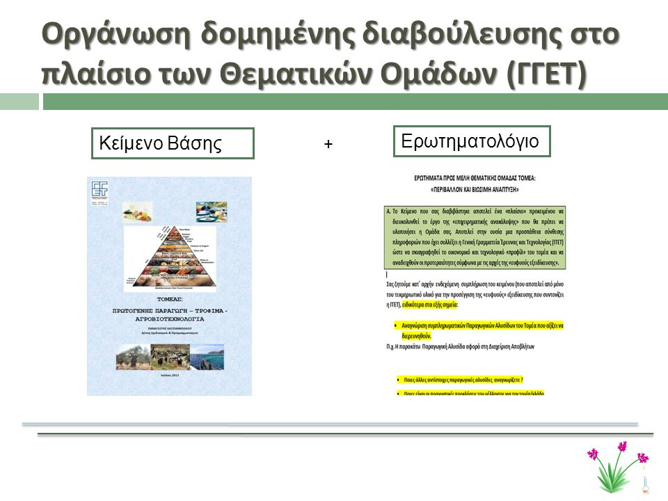 Οργάνωση δομημένης διαβούλευσης στο πλαίσιο των Θεματικών Ομάδων ( ΓΓΕΤ ) Κείμενο Βάσης Ερωτηματολόγιο +