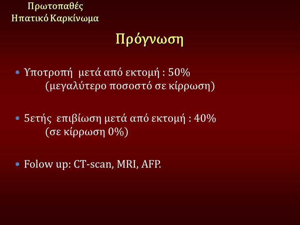 ΠρόγνωσηΠρωτοπαθές Ηπατικό Καρκίνωμα Υποτροπή μετά από εκτομή : 50% (μεγαλύτερο ποσοστό σε κίρρωση) 5ετής επιβίωση μετά από εκτομή : 40% (σε κίρρωση 0%) Folow up: CT-scan, MRI, AFP.