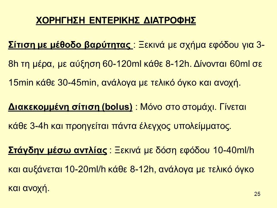 25 ΧΟΡΗΓΗΣΗ ΕΝΤΕΡΙΚΗΣ ΔΙΑΤΡΟΦΗΣ Σίτιση με μέθοδο βαρύτητας : Ξεκινά με σχήμα εφόδου για 3- 8h τη μέρα, με αύξηση 60-120ml κάθε 8-12h.