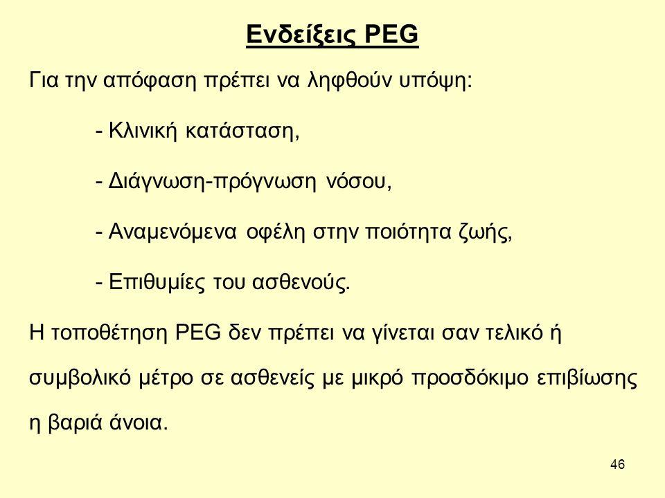 46 Ενδείξεις PEG Για την απόφαση πρέπει να ληφθούν υπόψη: - Κλινική κατάσταση, - Διάγνωση-πρόγνωση νόσου, - Αναμενόμενα οφέλη στην ποιότητα ζωής, - Επιθυμίες του ασθενούς.
