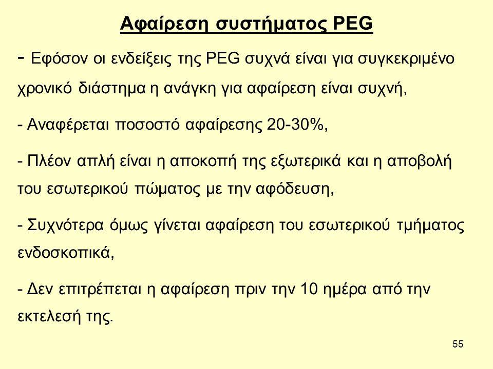 55 Αφαίρεση συστήματος PEG - Εφόσον οι ενδείξεις της PEG συχνά είναι για συγκεκριμένο χρονικό διάστημα η ανάγκη για αφαίρεση είναι συχνή, - Αναφέρεται ποσοστό αφαίρεσης 20-30%, - Πλέον απλή είναι η αποκοπή της εξωτερικά και η αποβολή του εσωτερικού πώματος με την αφόδευση, - Συχνότερα όμως γίνεται αφαίρεση του εσωτερικού τμήματος ενδοσκοπικά, - Δεν επιτρέπεται η αφαίρεση πριν την 10 ημέρα από την εκτελεσή της.