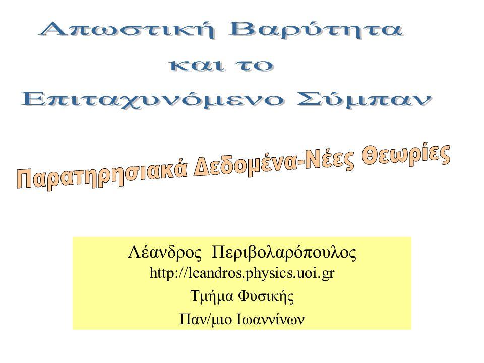 Λέανδρος Περιβολαρόπουλος http://leandros.physics.uoi.gr Τμήμα Φυσικής Παν/μιο Ιωαννίνων Open page