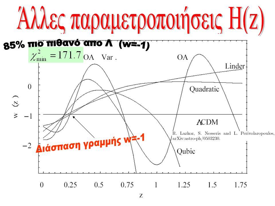 Ποια θεωρία προβλέπει την w(z) με την καλύτερη προσαρμογή στα παρατηρησιακά δεδομένα Ποιο είναι το μέλλον του Σύμπαντος αν είναι και παραμείνει w(z)<-1