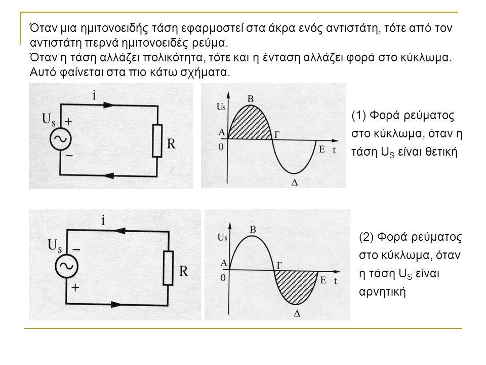 Όταν μια ημιτονοειδής τάση εφαρμοστεί στα άκρα ενός αντιστάτη, τότε από τον αντιστάτη περνά ημιτονοειδές ρεύμα.