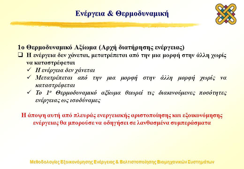 Μεθοδολογίες Εξοικονόμησης Ενέργειας & Βελτιστοποίησης Βιομηχανικών Συστημάτων Ενέργεια & Θερμοδυναμική 1ο Θερμοδυναμικό Αξίωμα (Αρχή διατήρησης ενέργειας)  Η ενέργεια δεν χάνεται, μετατρέπεται από την μια μορφή στην άλλη χωρίς να καταστρέφεται Η ενέργεια δεν χάνεται Μετατρέπεται από την μια μορφή στην άλλη μορφή χωρίς να καταστρέφεται Το 1 ο Θερμοδυναμικό αξίωμα θεωρεί τις διακινούμενες ποσότητες ενέργειας ως ισοδύναμες Η άποψη αυτή από πλευράς ενεργειακής αριστοποίησης και εξοικονόμησης ενέργειας θα μπορούσε να οδηγήσει σε λανθασμένα συμπεράσματα