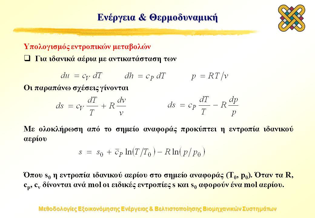 Μεθοδολογίες Εξοικονόμησης Ενέργειας & Βελτιστοποίησης Βιομηχανικών Συστημάτων Υπολογισμός εντροπικών μεταβολών  Για ιδανικά αέρια με αντικατάσταση των Οι παραπάνω σχέσεις γίνονται Με ολοκλήρωση από το σημείο αναφοράς προκύπτει η εντροπία ιδανικού αερίου Όπου s 0 η εντροπία ιδανικού αερίου στο σημείο αναφοράς (T 0, p 0 ).