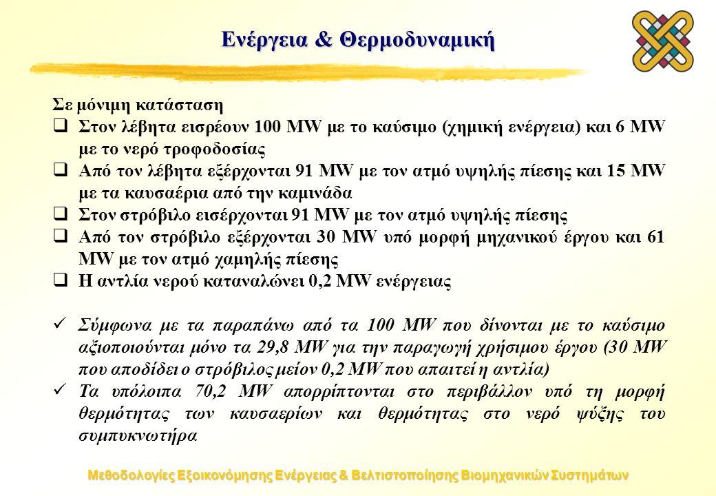 Μεθοδολογίες Εξοικονόμησης Ενέργειας & Βελτιστοποίησης Βιομηχανικών Συστημάτων Ενέργεια & Θερμοδυναμική Σε μόνιμη κατάσταση  Στον λέβητα εισρέουν 100 MW με το καύσιμο (χημική ενέργεια) και 6 MW με το νερό τροφοδοσίας  Από τον λέβητα εξέρχονται 91 MW με τον ατμό υψηλής πίεσης και 15 MW με τα καυσαέρια από την καμινάδα  Στον στρόβιλο εισέρχονται 91 MW με τον ατμό υψηλής πίεσης  Από τον στρόβιλο εξέρχονται 30 MW υπό μορφή μηχανικού έργου και 61 MW με τον ατμό χαμηλής πίεσης  Η αντλία νερού καταναλώνει 0,2 MW ενέργειας Σύμφωνα με τα παραπάνω από τα 100 MW που δίνονται με το καύσιμο αξιοποιούνται μόνο τα 29,8 MW για την παραγωγή χρήσιμου έργου (30 MW που αποδίδει ο στρόβιλος μείον 0,2 MW που απαιτεί η αντλία) Τα υπόλοιπα 70,2 MW απορρίπτονται στο περιβάλλον υπό τη μορφή θερμότητας των καυσαερίων και θερμότητας στο νερό ψύξης του συμπυκνωτήρα