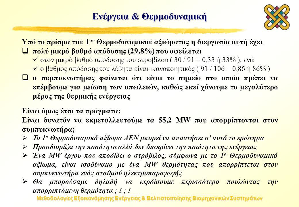 Μεθοδολογίες Εξοικονόμησης Ενέργειας & Βελτιστοποίησης Βιομηχανικών Συστημάτων Ενέργεια & Θερμοδυναμική Υπό το πρίσμα του 1 ου Θερμοδυναμικού αξιώματος η διεργασία αυτή έχει  πολύ μικρό βαθμό απόδοσης (29,8%) που οφείλεται στον μικρό βαθμό απόδοσης του στροβίλου ( 30 / 91 = 0,33 ή 33% ), ενώ ο βαθμός απόδοσης του λέβητα είναι ικανοποιητικός ( 91 / 106 = 0,86 ή 86% )  ο συμπυκνωτήρας φαίνεται ότι είναι το σημείο στο οποίο πρέπει να επέμβουμε για μείωση των απωλειών, καθώς εκεί χάνουμε το μεγαλύτερο μέρος της θερμικής ενέργειας Είναι όμως έτσι τα πράγματα; Είναι δυνατόν να εκμεταλλευτούμε τα 55,2 MW που απορρίπτονται στον συμπυκνωτήρα;  Το 1 ο Θερμοδυναμικό αξίωμα ΔΕΝ μπορεί να απαντήσει σ' αυτό το ερώτημα  Προσδιορίζει την ποσότητα αλλά δεν διακρίνει την ποιότητα της ενέργειας  Ένα MW έργου που αποδίδει ο στρόβιλος, σύμφωνα με το 1 ο Θερμοδυναμικό αξίωμα, είναι ισοδύναμο με ένα MW θερμότητας που απορρίπτεται στον συμπυκνωτήρα ενός σταθμού ηλεκτροπαραγωγής  Θα μπορούσαμε δηλαδή να κερδίσουμε περισσότερο πουλώντας την απορριπτόμενη θερμότητα ; .