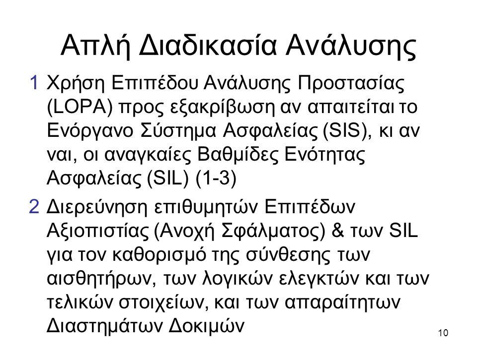 10 Απλή Διαδικασία Ανάλυσης 1Χρήση Επιπέδου Ανάλυσης Προστασίας (LOPA) προς εξακρίβωση αν απαιτείται το Ενόργανο Σύστημα Ασφαλείας (SIS), κι αν ναι, οι αναγκαίες Βαθμίδες Ενότητας Ασφαλείας (SIL) (1-3) 2Διερεύνηση επιθυμητών Επιπέδων Αξιοπιστίας (Ανοχή Σφάλματος) & των SIL για τον καθορισμό της σύνθεσης των αισθητήρων, των λογικών ελεγκτών και των τελικών στοιχείων, και των απαραίτητων Διαστημάτων Δοκιμών