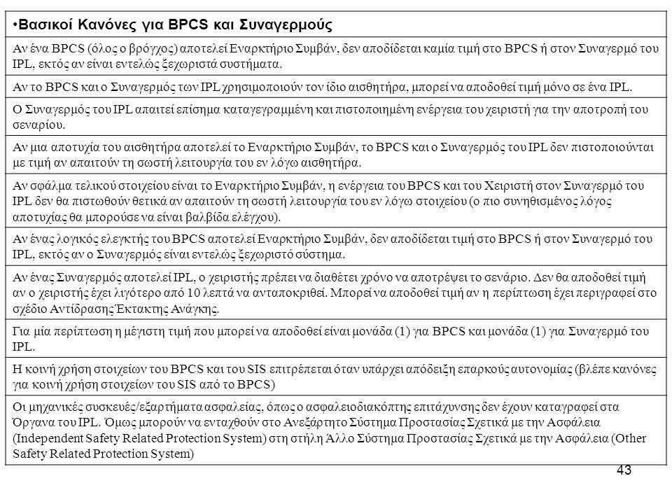 43 Βασικοί Κανόνες για BPCS και Συναγερμούς Αν ένα BPCS (όλος ο βρόγχος) αποτελεί Εναρκτήριο Συμβάν, δεν αποδίδεται καμία τιμή στο BPCS ή στον Συναγερμό του IPL, εκτός αν είναι εντελώς ξεχωριστά συστήματα.