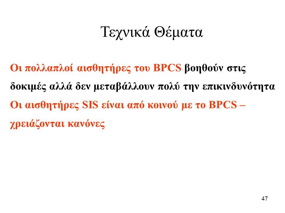 47 Τεχνικά Θέματα Οι πολλαπλοί αισθητήρες του BPCS βοηθούν στις δοκιμές αλλά δεν μεταβάλλουν πολύ την επικινδυνότητα Οι αισθητήρες SIS είναι από κοινού με το BPCS – χρειάζονται κανόνες