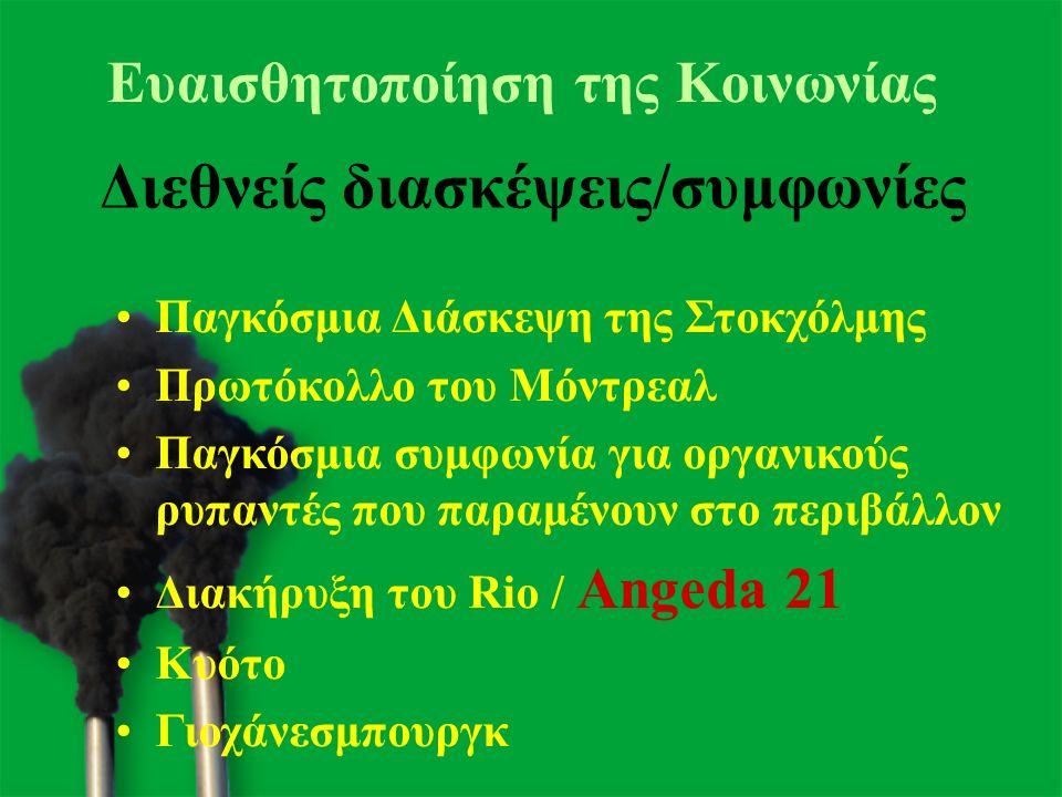 15 Παγκόσμια Διάσκεψη της Στοκχόλμης Πρωτόκολλο του Μόντρεαλ Παγκόσμια συμφωνία για οργανικούς ρυπαντές που παραμένουν στο περιβάλλον Διακήρυξη του Rio / Angeda 21 Κυότο Γιοχάνεσμπουργκ Διεθνείς διασκέψεις/συμφωνίες Ευαισθητοποίηση της Κοινωνίας