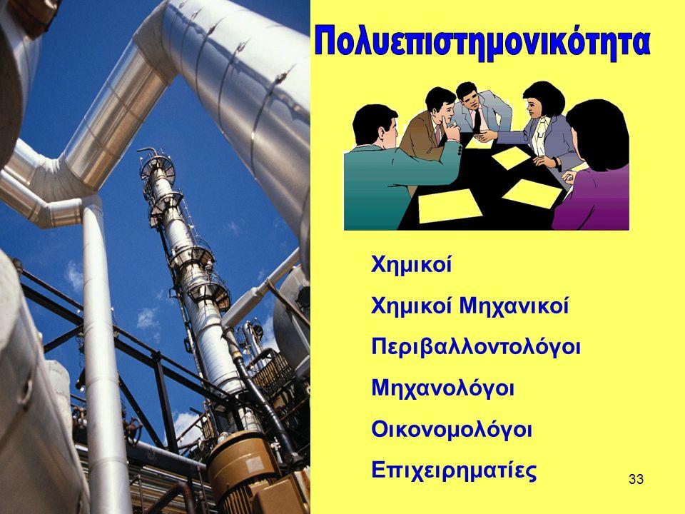 33 Χημικοί Χημικοί Μηχανικοί Περιβαλλοντολόγοι Μηχανολόγοι Οικονομολόγοι Επιχειρηματίες