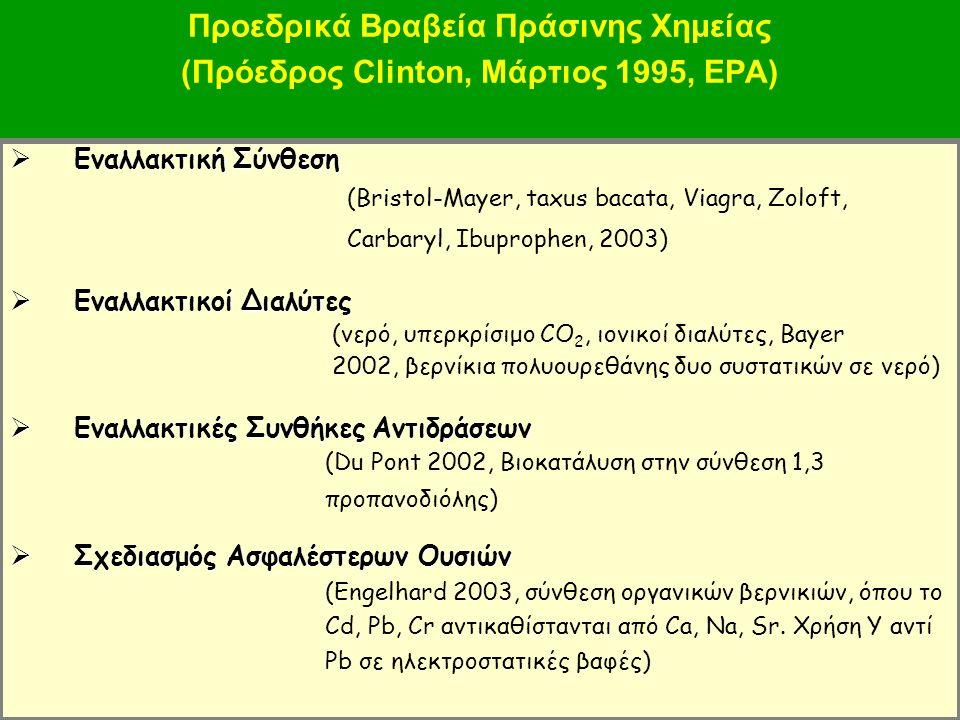 47 Προεδρικά Βραβεία Πράσινης Χημείας (Πρόεδρος Clinton, Μάρτιος 1995, EPA)  Εναλλακτική Σύνθεση (Bristol-Mayer, taxus bacata, Viagra, Zoloft, Carbaryl, Ibuprophen, 2003)  Εναλλακτικοί Διαλύτες (νερό, υπερκρίσιμο CO 2, ιονικοί διαλύτες, Bayer 2002, βερνίκια πολυουρεθάνης δυο συστατικών σε νερό)  Εναλλακτικές ΣυνθήκεςΑντιδράσεων  Εναλλακτικές Συνθήκες Αντιδράσεων (Du Pont 2002, Βιοκατάλυση στην σύνθεση 1,3 προπανοδιόλης)  Σχεδιασμός Ασφαλέστερων Ουσιών (Engelhard 2003, σύνθεση οργανικών βερνικιών, όπου το Cd, Pb, Cr αντικαθίστανται από Ca, Na, Sr.