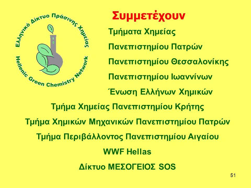 51 Τμήματα Χημείας Πανεπιστημίου Πατρών Πανεπιστημίου Θεσσαλονίκης Πανεπιστημίου Ιωαννίνων Ένωση Ελλήνων Χημικών Τμήμα Χημείας Πανεπιστημίου Κρήτης Τμήμα Χημικών Μηχανικών Πανεπιστημίου Πατρών Τμήμα Περιβάλλοντος Πανεπιστημίου Αιγαίου WWF Hellas Δίκτυο ΜΕΣΟΓΕΙΟΣ SOS Συμμετέχουν