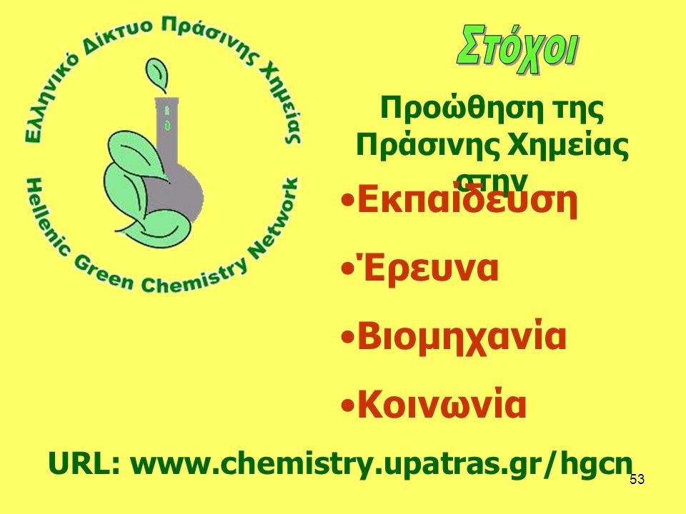 53 URL: www.chemistry.upatras.gr/hgcn Προώθηση της Πράσινης Χημείας στην Εκπαίδευση Έρευνα Βιομηχανία Κοινωνία