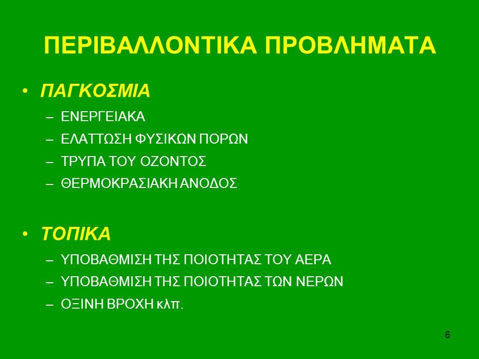 6 ΠΕΡΙΒΑΛΛΟΝΤΙΚΑ ΠΡΟΒΛΗΜΑΤΑ ΠΑΓΚΟΣΜΙΑ –ΕΝΕΡΓΕΙΑΚΑ –ΕΛΑΤΤΩΣΗ ΦΥΣΙΚΩΝ ΠΟΡΩΝ –ΤΡΥΠΑ ΤΟΥ ΟΖΟΝΤΟΣ –ΘΕΡΜΟΚΡΑΣΙΑΚΗ ΑΝΟΔΟΣ ΤΟΠΙΚΑ –ΥΠΟΒΑΘΜΙΣΗ ΤΗΣ ΠΟΙΟΤΗΤΑΣ ΤΟΥ ΑΕΡΑ –ΥΠΟΒΑΘΜΙΣΗ ΤΗΣ ΠΟΙΟΤΗΤΑΣ ΤΩΝ ΝΕΡΩΝ –ΟΞΙΝΗ ΒΡΟΧΗ κλπ.