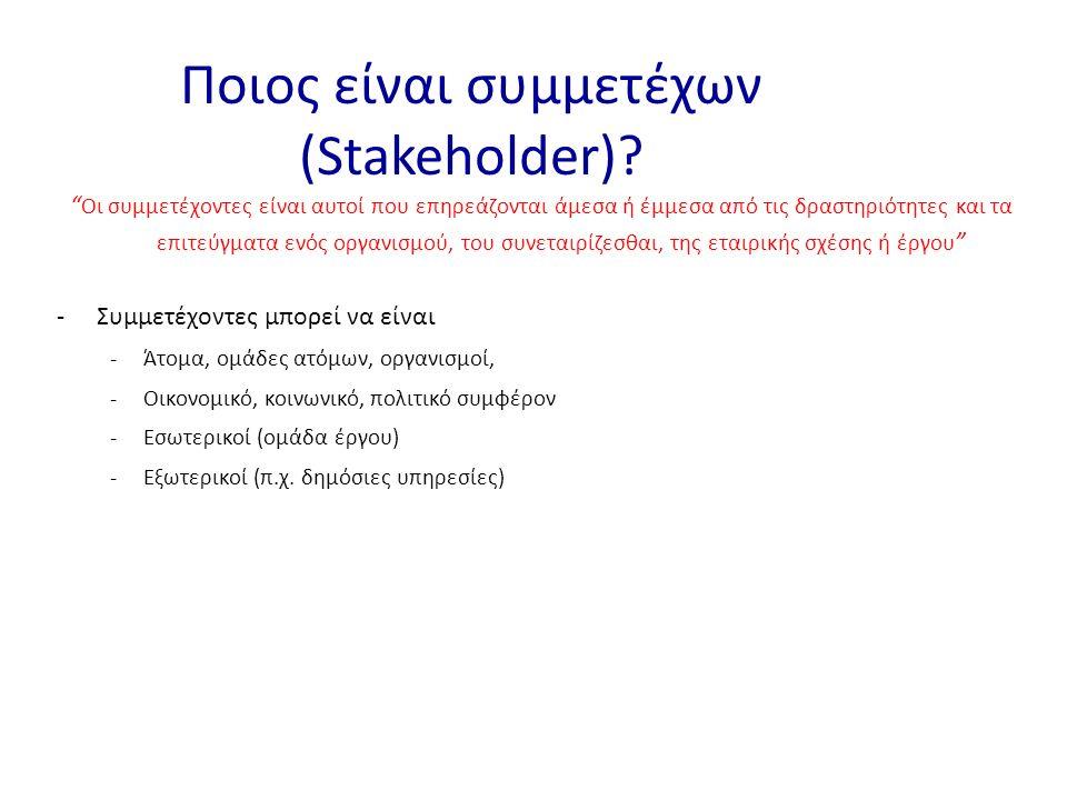 -Συμμετέχοντες μπορεί να είναι -Άτομα, ομάδες ατόμων, οργανισμοί, -Οικονομικό, κοινωνικό, πολιτικό συμφέρον -Εσωτερικοί (ομάδα έργου) -Εξωτερικοί (π.χ.