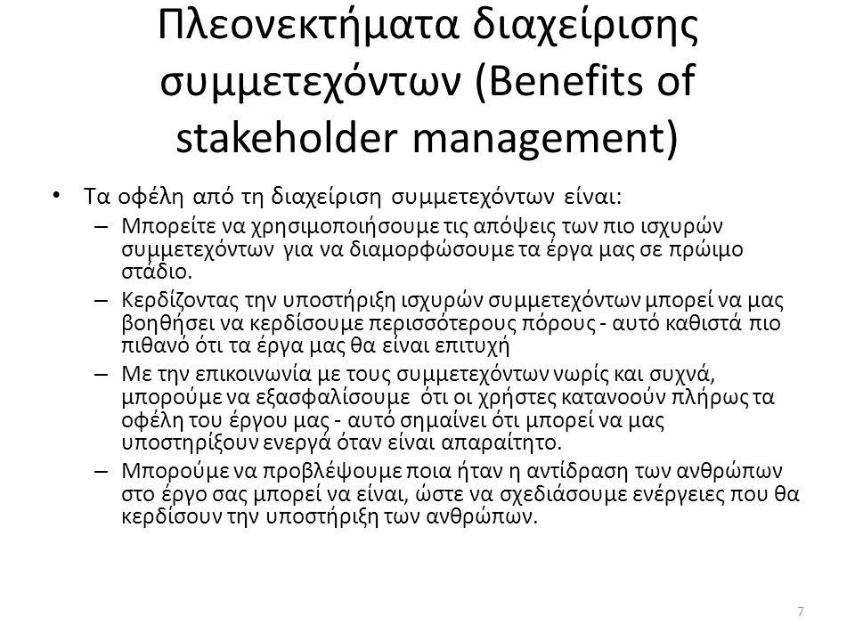Πλεονεκτήματα διαχείρισης συμμετεχόντων (Benefits of stakeholder management) Τα οφέλη από τη διαχείριση συμμετεχόντων είναι: – Μπορείτε να χρησιμοποιήσουμε τις απόψεις των πιο ισχυρών συμμετεχόντων για να διαμορφώσουμε τα έργα μας σε πρώιμο στάδιο.