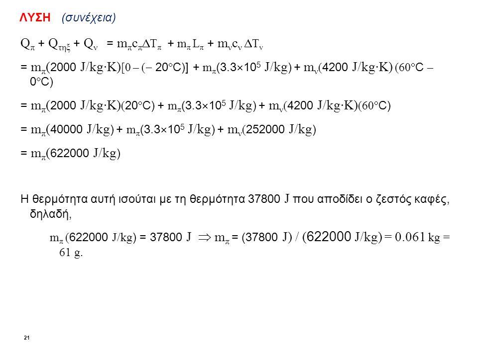ΛΥΣΗ (συνέχεια) Q π + Q τηξ + Q ν = m π c π  T π + m π L π + m ν c ν  T ν = m π ( 2000 J/kg·K) [0 – (  20  C)] + m π (3.3  10 5 J/kg ) + m ν ( 4200 J/kg·K) (60  C – 0  C) = m π ( 2000 J/kg·K) ( 20  C) + m π (3.3  10 5 J/kg ) + m ν ( 4200 J/kg·K) (60  C) = m π ( 40000 J/kg ) + m π (3.3  10 5 J/kg ) + m ν ( 252000 J/kg ) = m π ( 622000 J/kg ) Η θερμότητα αυτή ισούται με τη θερμότητα 37800 J που αποδίδει ο ζεστός καφές, δηλαδή, m π ( 622000 J/kg ) = 37800 J  m π = (37800 J) / ( 622000 J/kg) = 0.061 kg = 61 g.