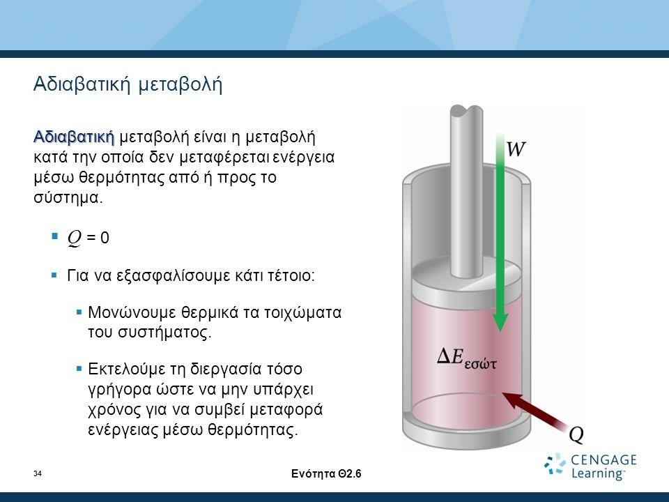 Αδιαβατική μεταβολή Αδιαβατική Αδιαβατική μεταβολή είναι η μεταβολή κατά την οποία δεν μεταφέρεται ενέργεια μέσω θερμότητας από ή προς το σύστημα.