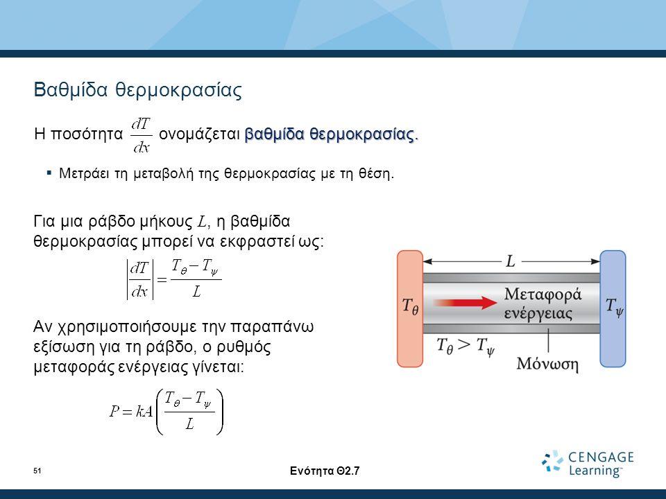 Βαθμίδα θερμοκρασίας Για μια ράβδο μήκους L, η βαθμίδα θερμοκρασίας μπορεί να εκφραστεί ως: Αν χρησιμοποιήσουμε την παραπάνω εξίσωση για τη ράβδο, ο ρυθμός μεταφοράς ενέργειας γίνεται: Ενότητα Θ2.7 51 βαθμίδα θερμοκρασίας.