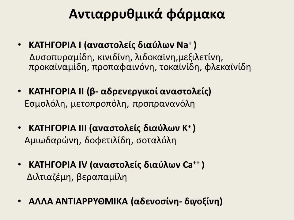 Αντιαρρυθμικά φάρμακα ΚΑΤΗΓΟΡΙΑ Ι (αναστολείς διαύλων Na + ) Δυσοπυραμίδη, κινιδίνη, λιδοκαϊνη,μεξιλετίνη, προκαϊναμίδη, προπαφαινόνη, τοκαϊνίδη, φλεκαϊνίδη ΚΑΤΗΓΟΡΙΑ ΙΙ (β- αδρενεργικοί αναστολείς) Εσμολόλη, μετοπροπόλη, προπρανανόλη ΚΑΤΗΓΟΡΙΑ ΙII (αναστολείς διαύλων Κ + ) Αμιωδαρώνη, δοφετιλίδη, σοταλόλη ΚΑΤΗΓΟΡΙΑ ΙV (αναστολείς διαύλων Ca ++ ) Διλτιαζέμη, βεραπαμίλη AΛΛΑ ΑΝΤΙΑΡΡΥΘΜΙΚΑ (αδενοσίνη- διγοξίνη)